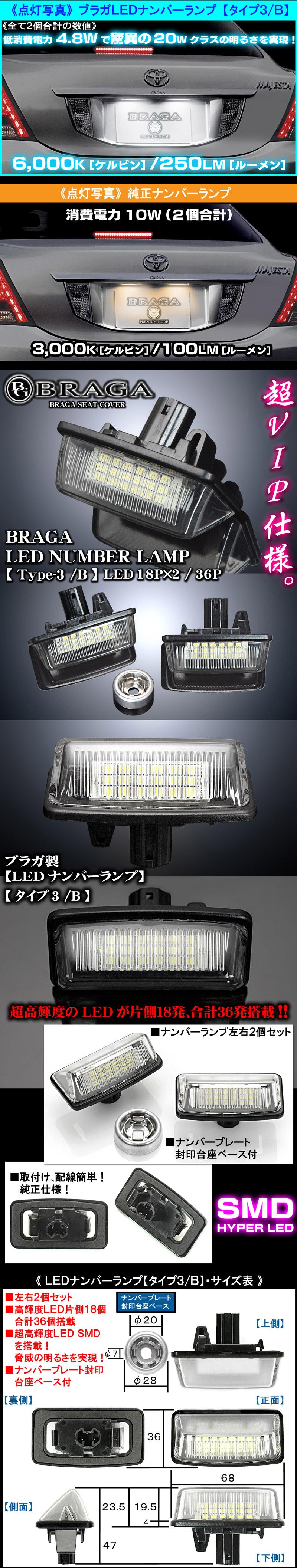 【LEDナンバーランプ灯[タイプ3/B]ライセンスランプ・左右2個セット/片側18発/合計36発】